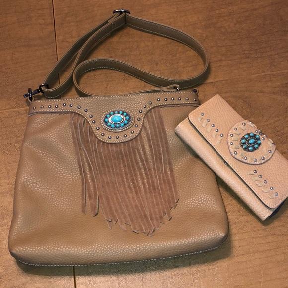 Trinity Ranch Handbags - Trinity Ranch Western Brown Fringe Shoulder Purse